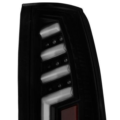 GMC Sierra 2500 1988-1998 Black Smoked Tube LED Tail Lights