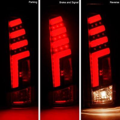 Chevy Silverado 1988-1998 Black Red Tube LED Tail Lights