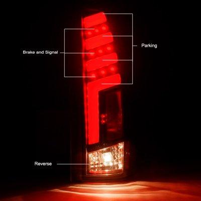 GMC Sierra 2500 1988-1998 Black Red Tube LED Tail Lights