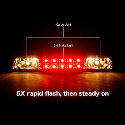 GMC Sierra 3500 2001-2006 Black Smoked Flash LED Third Brake Light