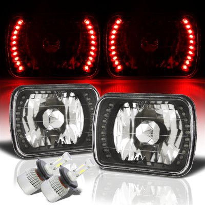 Ford F150 1978-1986 Red LED Black Chrome LED Headlights Kit