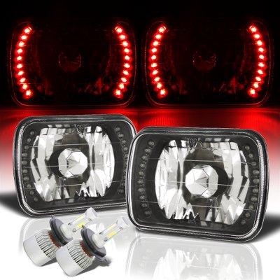 Ford F250 1999-2004 Red LED Black Chrome LED Headlights Kit