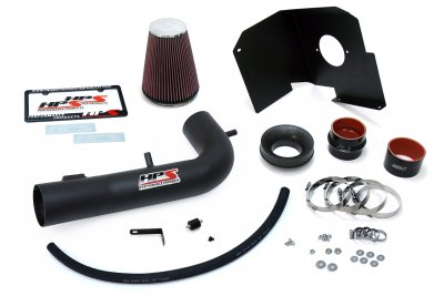 Chevy Silverado 1500 5.3L V8 2014-2018 HPS Black Cold Air Intake Red Filter with Heat Shield