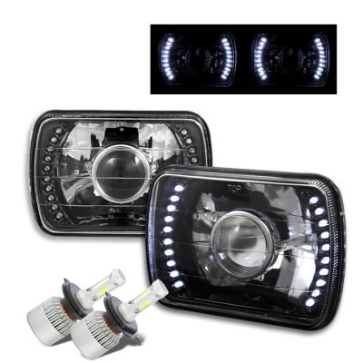 Chevy 1500 Pickup 1988-1998 LED Black Chrome LED Projector Headlights Kit