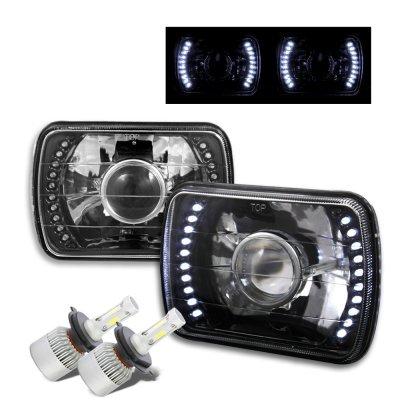 GMC Sierra 1988-1998 LED Black Chrome LED Projector Headlights Kit