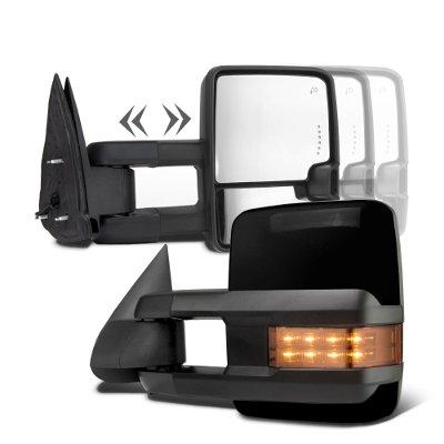 Chevy Silverado 2014-2018 Glossy Black Towing Mirrors LED Signal Power Heated