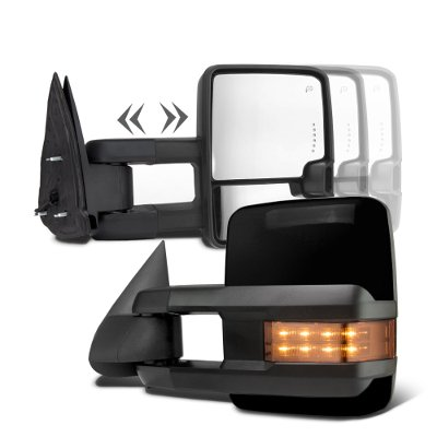Chevy Silverado 2003-2006 Glossy Black Towing Mirrors LED Lights Power Heated