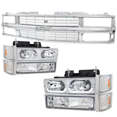 Chevy 1500 Pickup 1988-1993 Chrome Grille and LED DRL Headlights Set