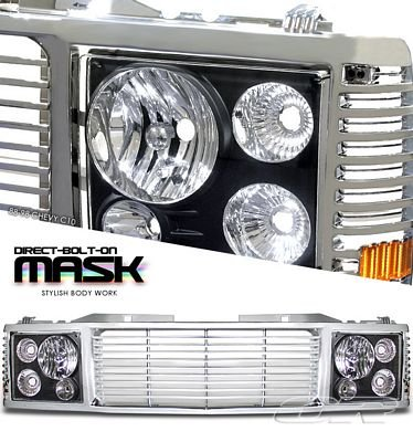 Chevy 1500 Pickup 1988-1993 Chrome Grille and Black Headlight Conversion
