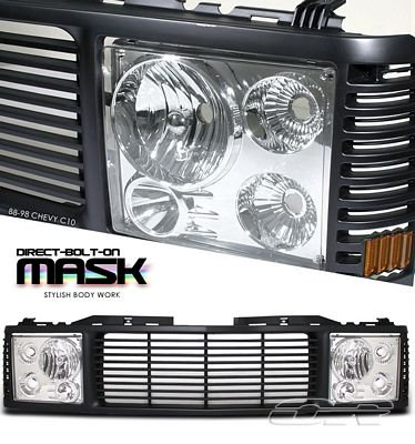 Chevy 1500 Pickup 1988-1993 Black Grille and Headlight Conversion
