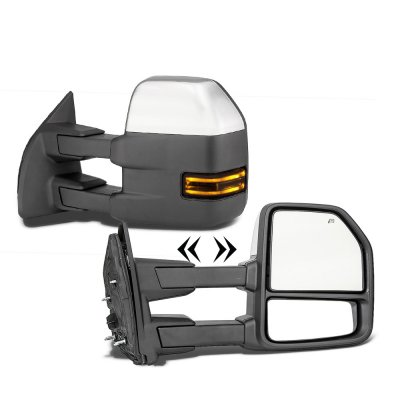 Ford F250 Super Duty 2003-2007 Chrome New Towing Mirrors Smoked LED Lights Power Heated