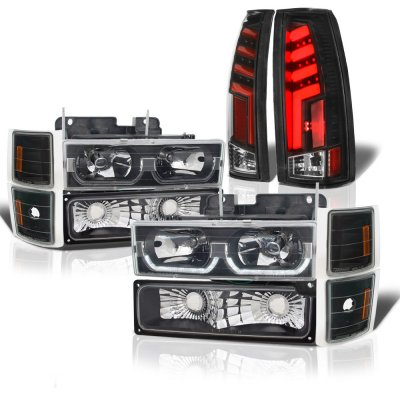 Chevy 1500 Pickup 1994-1998 Black LED DRL Headlights Custom Tube LED Tail Lights