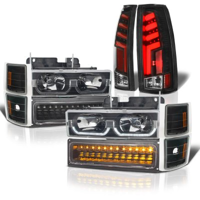 Chevy Silverado 1988-1993 Black LED DRL Headlights Set Custom Tube LED Tail Lights