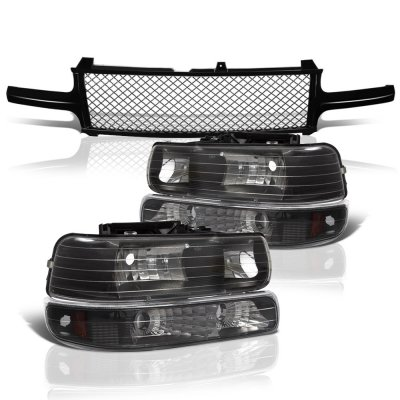 Chevy Silverado 1999-2002 Black Mesh Grille and Headlights Set