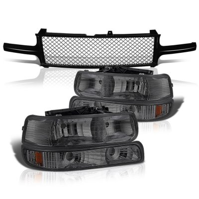 Chevy Silverado 1999-2002 Black Mesh Grille and Smoked Headlights Set