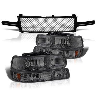 Chevy Silverado 3500 2001-2002 Black Mesh Grille and Smoked Headlights Set