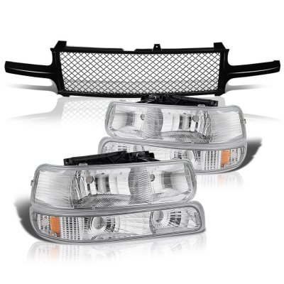 Chevy Silverado 2500 1999-2002 Black Mesh Grille and Clear Headlights Set