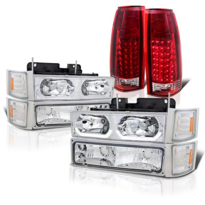 Chevy 3500 Pickup 1994-1998 LED DRL Headlights and LED Tail Lights
