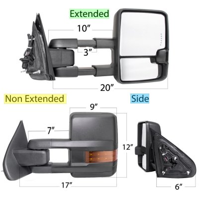 Chevy Silverado 2014-2018 Power Folding Towing Mirrors LED Lights Heated