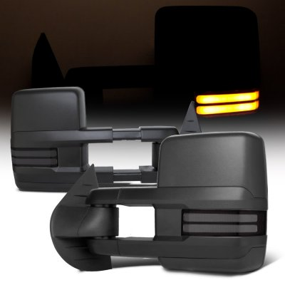 Chevy Silverado 2007-2013 Towing Mirrors Smoked Tube LED Lights Power Heated