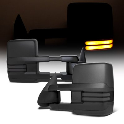 Chevy Suburban 2000-2002 Towing Mirrors Smoked Tube LED Lights Power Heated
