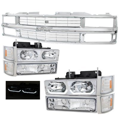 Chevy 2500 Pickup 1988-1993 Chrome Grille and LED DRL Headlights Set