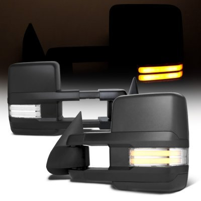 Chevy Suburban 2000-2002 Towing Mirrors Tube LED Lights Power Heated