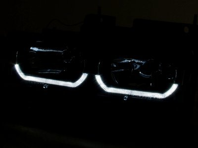 Chevy 2500 Pickup 1988-1993 Black Grille and LED DRL Headlights Set