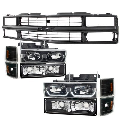 Chevy 3500 Pickup 1988-1993 Black Grille and LED DRL Headlights Set