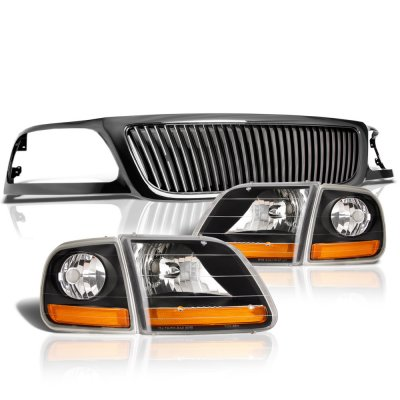 Ford Expedition 1999-2002 Black Grille and Harley Headlights Set