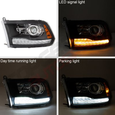 Dodge Ram 2009-2018 Black Projector Headlights Switchback LED DRL Signal Lights