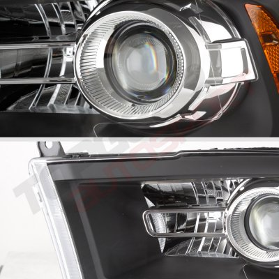 Dodge Ram 2009-2018 Black Projector Headlights Premium LED DRL Signal Lights