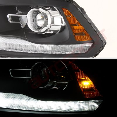 Dodge Ram 2500 2010-2018 Black Projector Headlights Switchback LED DRL Signal Lights