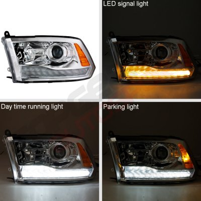 Dodge Ram 2009-2018 Projector Headlights Switchback LED DRL Signal Lights