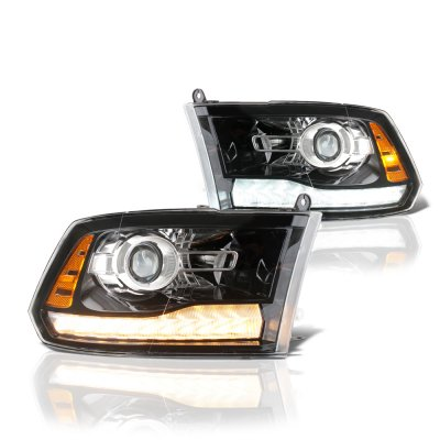 Dodge Ram 2009-2018 Glossy Black Projector Headlights Switchback LED DRL Signal Lights