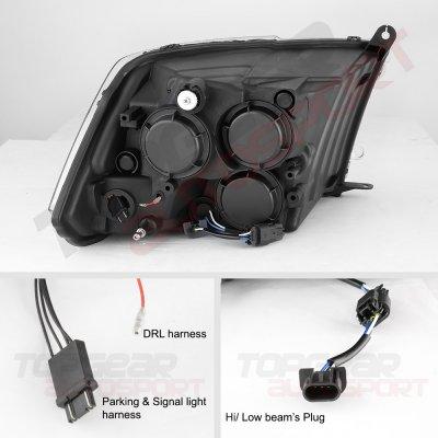 Dodge Ram 2500 2010-2018 Glossy Black Projector Headlights Switchback LED DRL Signal Lights