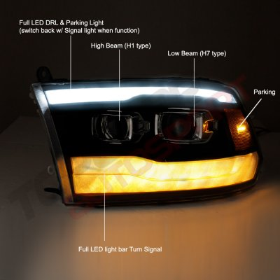 Dodge Ram 2009-2018 Black DRL Projector Headlights LED Signal Lights