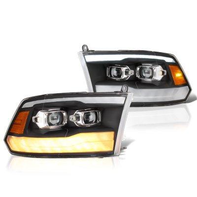 Dodge Ram 2500 2010-2018 Black DRL Projector Headlights LED Signal Lights