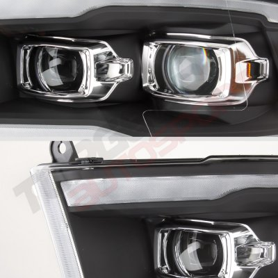 Dodge Ram 2009-2018 Black DRL Projector Headlights LED Signal Lights