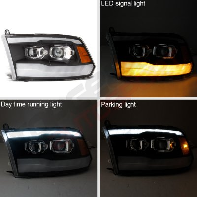 Dodge Ram 3500 2010-2018 Black DRL Projector Headlights LED Signal Lights