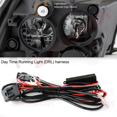 Dodge Ram 2500 2010-2018 Black DRL Projector Headlights LED Signal Lights