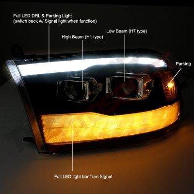 Dodge Ram 2009-2018 Glossy Black DRL Projector Headlights LED Signal Lights