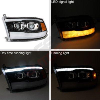 Dodge Ram 2500 2010-2018 Glossy Black DRL Projector Headlights LED Signal Lights