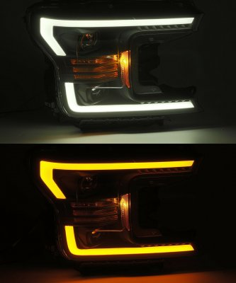 Ford F150 2018-2019 Glossy Black Projector Headlights Switchback LED DRL Signal Lights