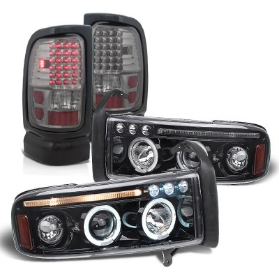 Dodge Ram 2500 1994-2002 Smoked Halo Projector Headlights LED Tail Lights