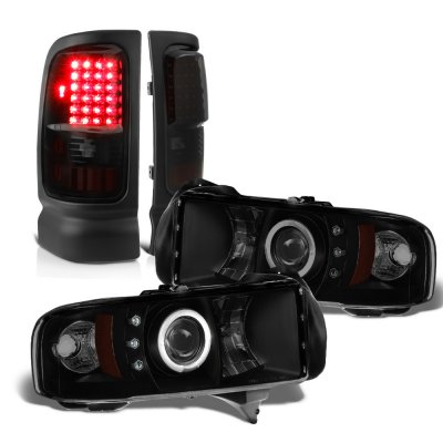 Dodge Ram 1994-2001 Black Smoked Halo Projector Headlights LED Tail Lights