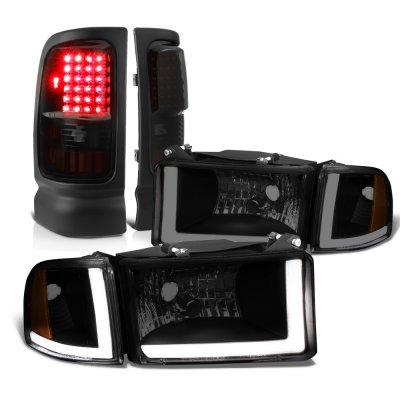 Dodge Ram 3500 1994-2002 Black Smoked DRL Headlights Set LED Tail Lights