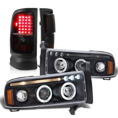 Dodge Ram 2500 1994-2002 Black Tinted Halo Projector Headlights LED Tail Lights