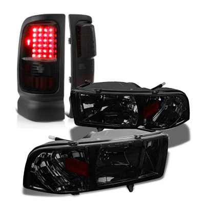 Dodge Ram 2500 1994-2002 Smoked Headlights Black Tinted LED Tail Lights