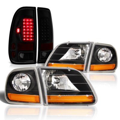 Ford F150 1997-2003 Black Harley Headlights Tinted LED Tail Lights